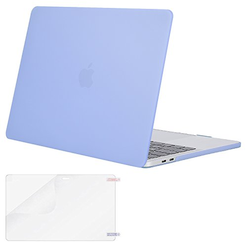 MOSISO MacBook Pro 13 Case 2018 2017 2016 Release A1989/A1706/A1708, Plastic Hard Shell Cover with Screen Protector Compatible Newest MacBook Pro 13 Inch with/Without Touch Bar, Serenity Blue