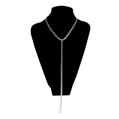 (Women Crystal Rhinestone Choker Necklace with Long Cleavage Tassel Body Chain Necklace Jewelry Crafting Key Chain Bracelet Pendants Accessories Best| Item - Silver)