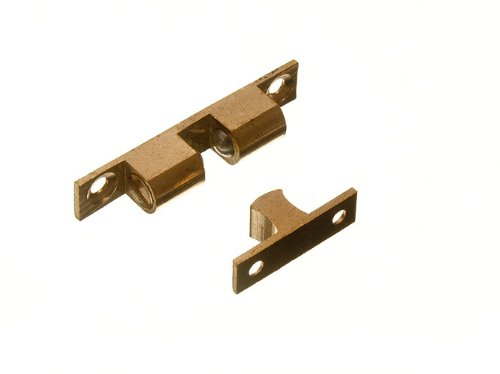 ADJUSTABLE DOUBLE SPRUNG BALL CATCH LATCH BRASS 50MM + SCREWS ( pack of 200 ) by ONESTOPDIY (Image #1)