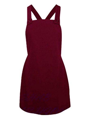 C.X Trendy Mini Women's Knee Length A Line Suspender Overall Skirt Dress (S, Red) (Length Bib Knee)
