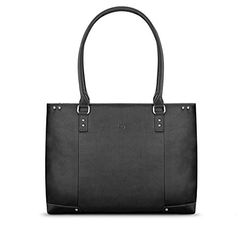 Solo Jay 15.6 inch Vintage Leather Laptop Ladies Tote Bag, Black