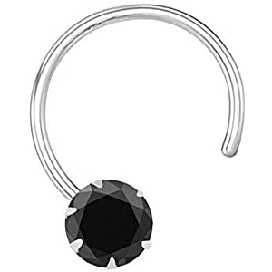 monde éblouissant 92.5 Sterling Silver Black Nose pin for Women