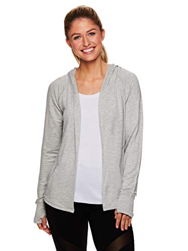 Gaiam Women's Yoga Wrap - Open Front Long Sleeve Cardigan Sweater - Lightweight Athletic Hoodie - Grey Heather, Large