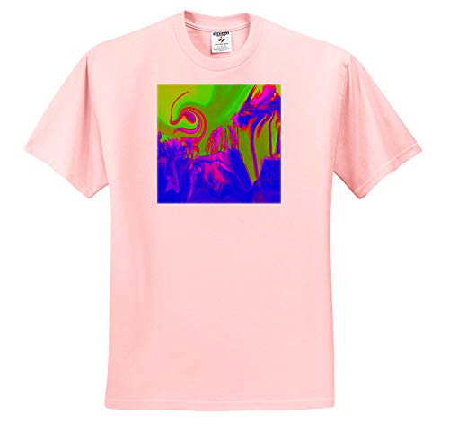 Lens Art by Florene - Digital Paintings - Image of Tornado Swirl and Palm in Blue Fuchsia and Lime - T-Shirts - Light Pink Infant Lap-Shoulder Tee (12M) (ts_303008_72) (Pink Tornados Art)