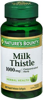 Nature's Bounty Milk Thistle 1000 mg Herbal Supplement Softgels - 50 ct, Pack of 6