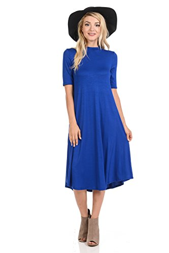 (iconic luxe Women's Mock Neck Trapeze Midi Dress Small Royal Blue)