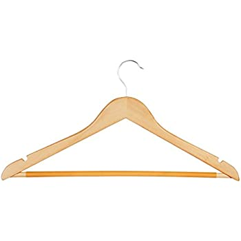 Honey-Can-Do HNG-01366 Maple Wood Suit Hanger with Dress Notches and PVC Sleeve, 10-Pack