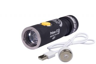 Armytek Prime C1 Pro XP-L Magnet USB + 18350 Li-Ion - WHITE- Silver - TURBO 1050 LED Lm 165 Meters 10 YEARS WARRANTY EDC Flashlight Waterproof IP68 (SHIPPING FROM THE OFFICIAL STORE IN CANADA)
