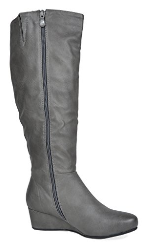 pu Womens Wedege Grey Fashion DREAM Boots PAIRS DREAM Low PAIRS qzHHZP