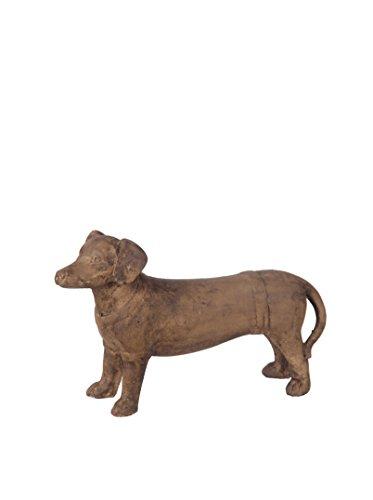 Brown Stone Finish Ceramic Standing Dachshund Dog Statue ...