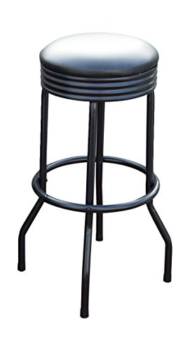 Trademark Gameroom Outdoor Ribbed Swivel Barstool – Black