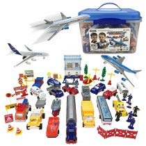 Cottontail Portable 57 Pieces Complete Airport Playset with Airplanes Land Vehicles Traffic Signs Trucks Ambulance Firetruck Cops Worker Figures and Carry Anywhere Clear Storage Box ()