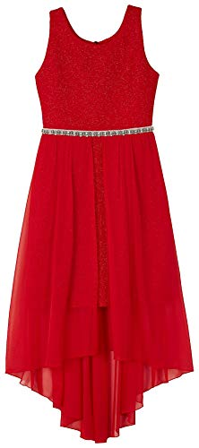 Amy Byer Girls' Big 7-16 Sleeveless High-Low Party Dress with Lace Bodice, Winter red 16 -