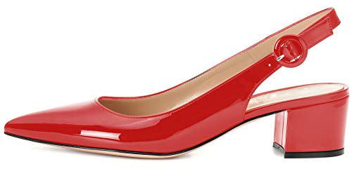 YODEKS Slingbacks Heels for Women Patent Leather Heels Slingback Pointed Toe Block Heel Pumps Ankle Buckle Chic Pumps, 2 inch Heel Height Red Patent US9.5