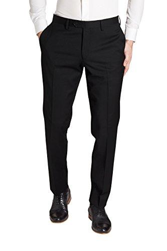 next Homme Costume en laine italienne: Pantalon Noir 30 / Long - Regular Fit