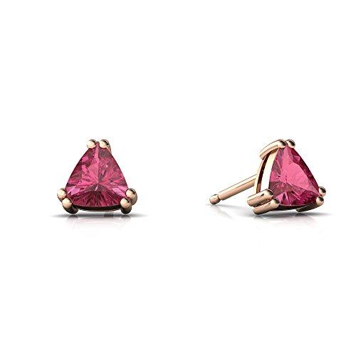 14kt Rose Gold Pink Tourmaline 5mm Trillion Trillion Stud ()