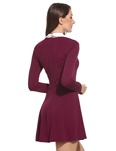 Teamyy Vestido para Mujer de Manga larga Cuello Turn Down Plisado Patchwork Rojo vino