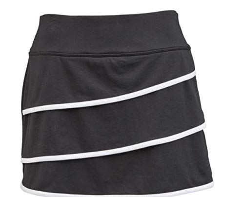 Shay Shay & Co. Women's Tennis Skirt Built in Shorts Includes Pocket for Tennis Ball Size Medium Black and White Layered (Tennis Skirt Layered)