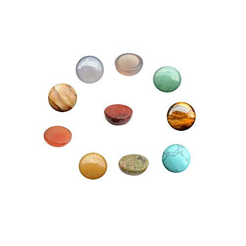 12mm Gemstone Cabochons for Jewelry Making Assorted Multi Color Flat Back Round Stones Sold by 16 Pcs (Random Color No ()