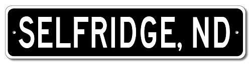 Custom Aluminum Sign SELFRIDGE, NORTH DAKOTA US City and State Name Sign - Black - - Sign Selfridges
