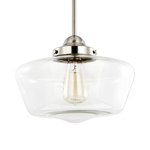 Light Society Portola Schoolhouse Pendant Light, Satin Nickel with Clear Glass Shade, Classic Vintage Modern Lighting Fixture LS-C251-SN-CL