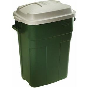 (Rubbermaid Roughneck Trash Container 30 Gal Rectangular Plastic Evergreen,)