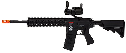 (G&G CM16 R8-L Airsoft Rifle Combo Black New Battery Charger & Red Dot Sight)