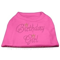 Mirage Pet Products 10-Inch Birthday Girl Rhinestone Print Shirt for Pets, Small, Bright Pink