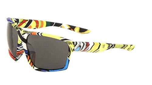 Gnarly Square Oversized Sport Wrap Around Sunglasses (Pop Art Frame, Black ()