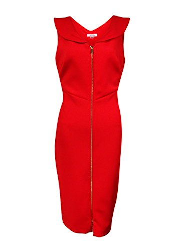 Shawl Collar Sheath (Calvin Klein Women's Shawl-Collar Scuba Knit Zip Sheath Dress (6, Fire))
