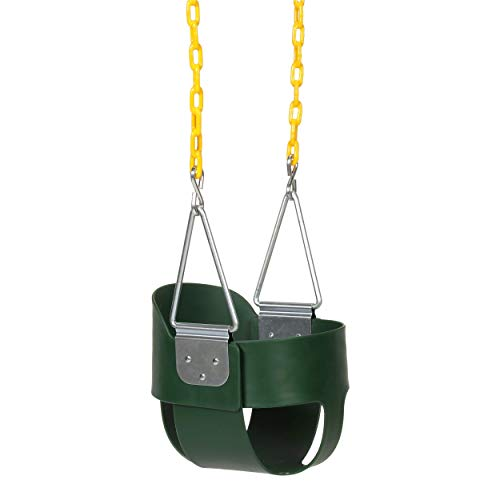 Eastern Jungle Gym Heavy-Duty High Back Full Bucket Toddler Swing Seat with Coated Swing Chains Fully Assembled, Green
