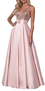 Women's Sequin Rose Gold Prom Dresses Long V-Neck Backless Bridesmaid Dresses Formal Evening Ball Gowns
