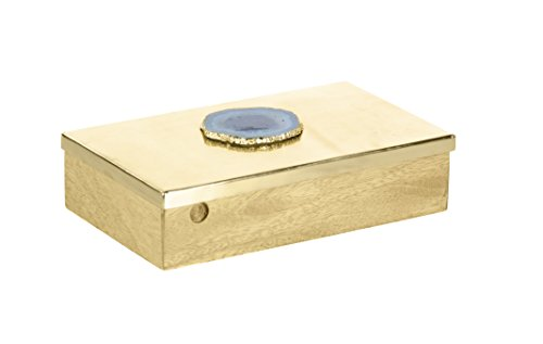 Benzara Metal Decorative Boxes Bm118423 Benzara Frantic Wood Metal Box With Agate Stone 10 X 3 X 6 Inches Black