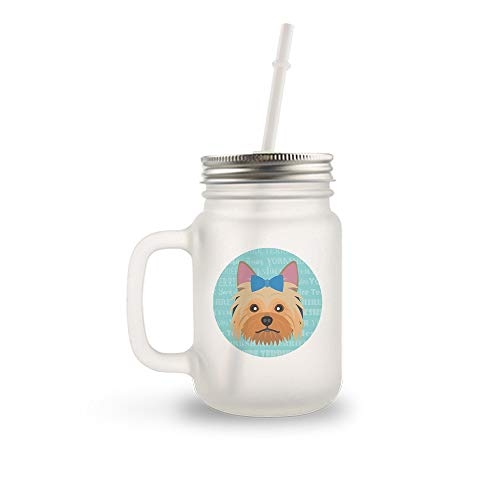 Mystic Sloth Adorable Dog Breed Specific 12oz Frosted Mason Jar with Handle: Includes Lid & Straw (Yorkshire Terrier Blue ()