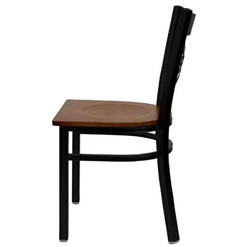 Modern Style Metal Dining Chairs School Bar Restaurant Commercial Seats X-Back Design Black Powder Coated Frame Finish Home Office Furniture - (1) Cherry Wood Seat #2155