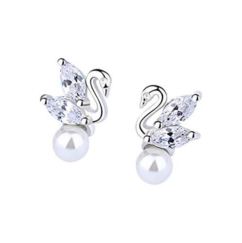 L&B Olivia White Swan Pearl Earrings for Women S925 Sterling Silver Stud Earrings Ear swan