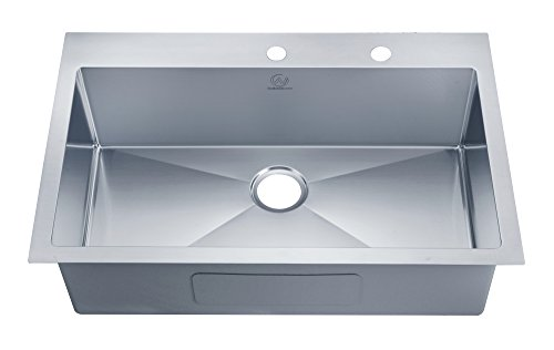 (Stufurhome NW-3322SO Over Mount Stainless Steel 2-Hole Single Bowl Kitchen Sink, Satin, 33