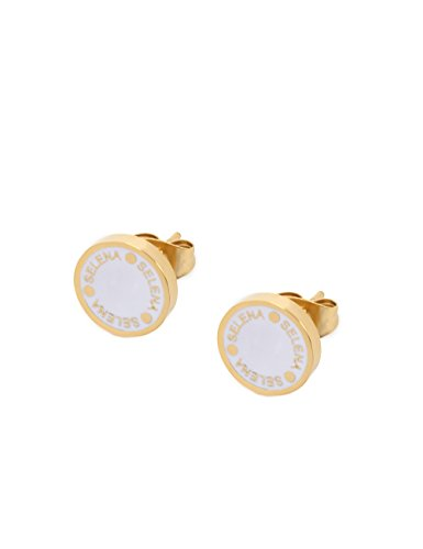 (Selena Jewelry) Enamel Color Disc Stud Earrings With Logo Coin Shaped Solid Yellow Gold Classic White (Deluxe Package)
