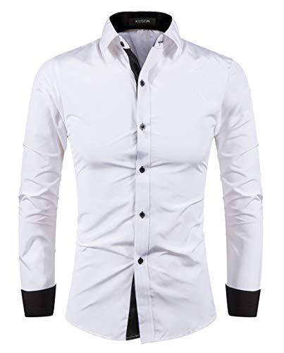 Kuson Herren Hemd Bügelleicht aus Baumwolle Kentkragen Hemden Slim Fit Anzug mit Kontrasten