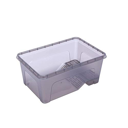 Plastic Transparent Fish Tank Insect Reptile Breeding Feeding Box Large Capacity Aquarium Habitat Tub Turtle Tank Platform S/M/L (Black, L) by Move World