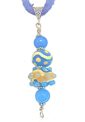 Ivory and Blue Glass Lampwork Bead Pendant on Silk Cord Necklace with Matching Earrings