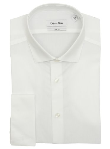 Calvin Klein Mens Solid White Slim Fit French Cuff Cotton Dress Shirt (16.5