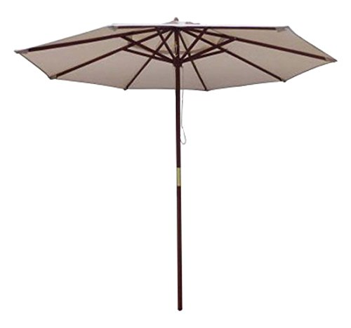 MARCH Products FS Wood Umbrella, 9', Beige