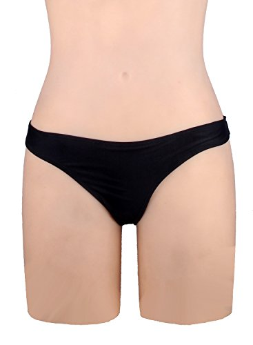 Focussexy Women's 2016 Hot Summer Beachwear Bikini Bottom Thong Swimwear Black XL
