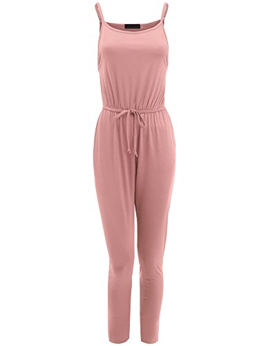 Made By Johnny WRJ1551 Womens Sleeveless Elastic Waist Knit Long Jumpsuit M (Rose Knit Pants)