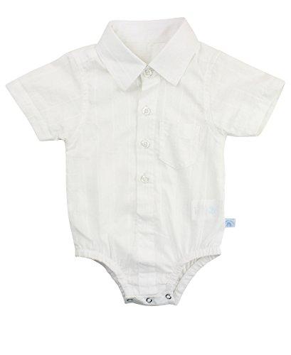 oddler Boys White Dobby Short Sleeve Button up Bodysuit - White - 6-12m (Button Designer Suit)