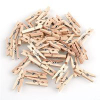 Tiptiper 100 Pcs 1inch(25mm)Natural Wooden Spring Clothespins Photo Paper Peg Pin Craft Clips Place Card Holder Bag Clips for Home School Arts Crafts Wedding Party (Clothespin Place Card Holders)