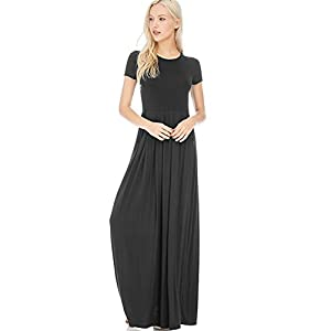 12 Ami Reese Short Sleeve Pleated Pocket Maxi Dress – Made in USA (S-3X)