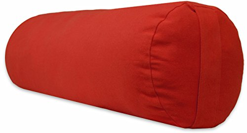 YogaAccessories Supportive Round Cotton Yoga Bolster - Cardinal Red