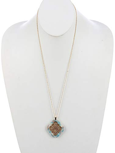 Maya's Grace Scalloped Lucite Stone Pendant Rhombus Marble Finish Necklace - Pendant Marble Aqua
